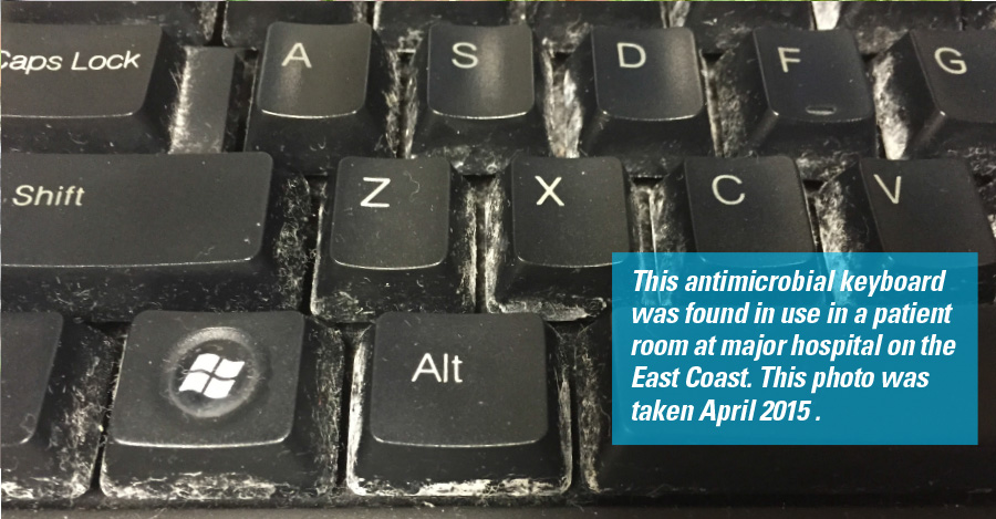 A picture of a dirty keyboard found in use in a hostpital